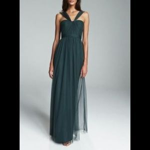 Amsale G878C Tulle Long Gown in Hunter Green Sz 6